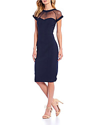 cheap -Sheath / Column Jewel Neck Knee Length Stretch Satin Elegant Cocktail Party / Holiday Dress with Draping 2020