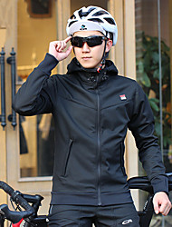 cheap -Mountainpeak Men's Long Sleeve Cycling Jersey with Tights Black Bike Warm Winter Sports Solid Color Mountain Bike MTB Road Bike Cycling Clothing Apparel / Stretchy