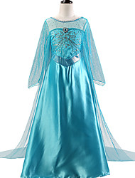 cheap -Elsa Cosplay Costume Flower Girl Dress Kid's Girls' A-Line Slip Dresses Mesh Christmas Halloween Carnival Festival / Holiday Silk Organza Blue Carnival Costumes Sequin / Cotton