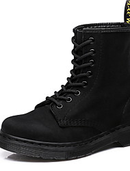 cheap -Men's Combat Boots Leather Winter Boots Mid-Calf Boots Black