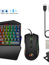 cheap -HXSJ K88 Bluetooth 4.2 Single Hand Gaming Keyboard and Mouse Combo Portable / Gaming / Backlit Gaming Keyboard / Single Hand Mini Size / Gaming / Luminous Gaming Mouse / Office Mouse 3200 dpi