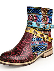cheap -Women's Boots Low Heel Round Toe Leather Booties / Ankle Boots Fall & Winter Red
