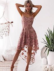 cheap -Women's Elegant Asymmetrical A Line Dress - Floral Print Strap Blushing Pink S M L XL