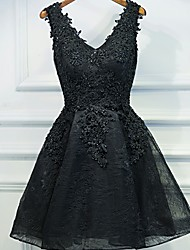 cheap -A-Line V Neck Short / Mini Lace / Tulle Little Black Dress Cocktail Party / Holiday Dress with Beading / Sequin / Appliques 2020