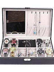 cheap -Black Leather 8 Watch Box Jewelry Organizer Case with Jewelry Display