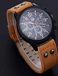 cheap -Men's Sport Watch Quartz PU Leather Black / Orange / Brown No Calendar / date / day New Design Casual Watch Analog Outdoor New Arrival - Black Brown Orange One Year Battery Life