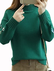 cheap -Women's Solid Colored Long Sleeve Pullover Sweater Jumper, High Neck White / Yellow / Green One-Size