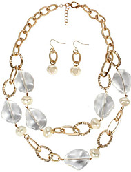 cheap -Women's Pearl Bridal Jewelry Sets Geometrical Donuts Stylish Earrings Jewelry White / Gold For Party Festival 1 set