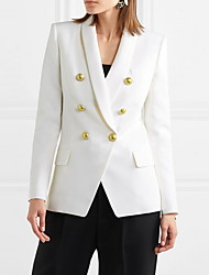 cheap -Women's Blazer, Solid Colored Shawl Lapel Polyester Black / White / Blue