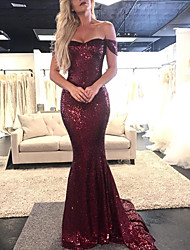 cheap -Mermaid / Trumpet Off Shoulder Court Train Sequined Elegant Prom / Formal Evening Dress with Sequin 2020