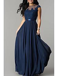 cheap -A-Line Elegant Formal Evening Dress Jewel Neck Sleeveless Floor Length Chiffon with Pleats Lace Insert 2021