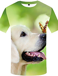 cheap -Men's Daily Street chic T-shirt - 3D / Animal Dog, Print Rainbow