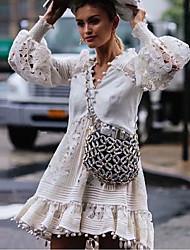 cheap -Women's Mini White Dress Elegant A Line Solid Colored V Neck S M