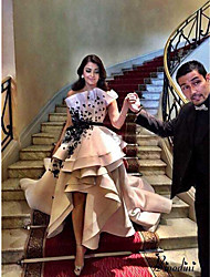 cheap -Ball Gown Scalloped Neckline Court Train Satin Elegant Prom Dress 2020 with Appliques / Sash / Ribbon / Cascading Ruffles