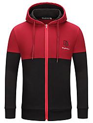abordables -Homme Sports Basique Automne hiver Normal Trench, Bloc de Couleur Col Arrondi Manches Longues Coton Blanche / Rouge / Chameau