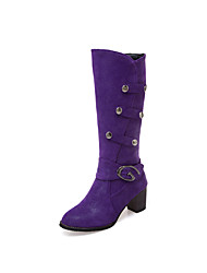 cheap -Women's Boots Chunky Heel Round Toe Buckle PU Knee High Boots Classic / Minimalism Spring &  Fall / Fall & Winter Black / Purple / Beige