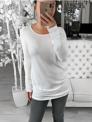 cheap -Women's Daily Basic Loose Tunic - Solid Colored White Black