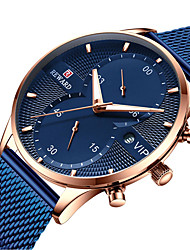 cheap -REWARD Men's Steel Band Watches Quartz Stylish Stainless Steel Black / Blue / Silver 30 m Water Resistant / Waterproof Calendar / date / day Chronograph Analog Casual Fashion - Black Golden Blue One