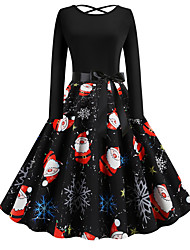 cheap -Women's Swing Dress - Long Sleeve Floral Print Elegant Christmas Party Black S M L XL XXL