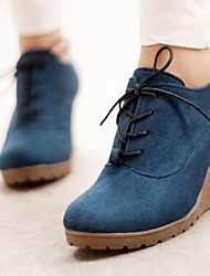 cheap -Women's Boots Wedge Heel Round Toe Suede Booties / Ankle Boots Winter Black / Orange / Green