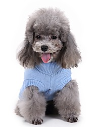 cheap -Dog Sweater Dog Clothes Solid Colored Light Blue Acrylic Fibers Costume For Spring &  Fall Winter Men's Women's Casual / Daily