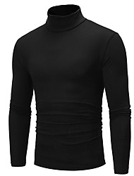 cheap -Men's Solid Colored Pullover Long Sleeve Regular Sweater Cardigans Turtleneck Fall Winter White Black Royal Blue