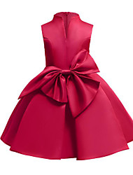 cheap -A-Line Medium Length Flower Girl Dress - Satin / Poly&Cotton Blend Sleeveless Queen Anne / V Wire with Bow(s) / Solid