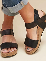 cheap -Women's Sandals Wedge Heel Peep Toe PU Spring & Summer Black / Brown / Almond