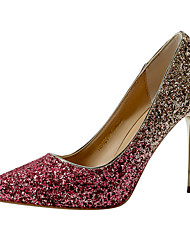 cheap -Women's Wedding Shoes Stiletto Heel Pointed Toe Sequin Synthetics Minimalism Spring & Summer Black / Wine / White / Party & Evening / Color Block
