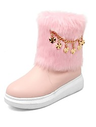 cheap -Women's Boots Snow Boots Flat Heel Round Toe Sequin / Stitching Lace Faux Leather Booties / Ankle Boots Casual / Minimalism Walking Shoes Spring / Fall & Winter Pink / Beige