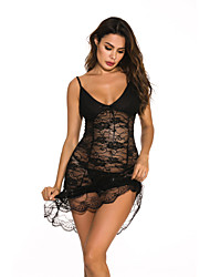 cheap -Women's Lace / Backless / Mesh Babydoll & Slips Nightwear Solid Colored / Embroidered Black S M L