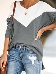 cheap -Women's Daily T-shirt - Color Block Blue