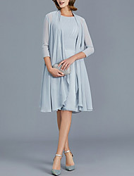 cheap -A-Line Jewel Neck Knee Length Chiffon Mother of the Bride Dress with Ruching by LAN TING Express