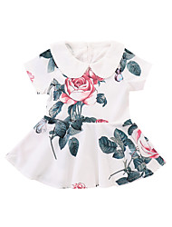 cheap -Baby Girls' Active Rose Floral / Solid Colored Print Short Sleeve Dress White