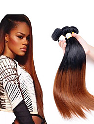 """cheap -3 Bundles Brazilian Hair Straight Virgin Human Hair Remy Human Hair Ombre Hair Weaves / Hair Bulk Human Hair Extensions Ombre 12""""~26"""" Multi-color Human Hair Weaves Natural Best Quality African"""