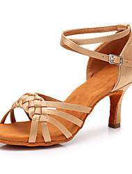 Недорогие -Жен. Танцевальная обувь Сатин Обувь для латины На каблуках Тонкий высокий каблук Персонализируемая Черный / Телесный / Белый
