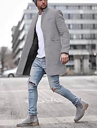 abordables -Homme Quotidien Taille EU / US Normal Manteau, Couleur Pleine Revers Cranté Manches Longues Polyester Noir / Bleu / Gris / Mince