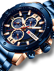 cheap -CURREN Men's Steel Band Watches Quartz Sporty Stainless Steel Black / Blue / Silver 30 m Water Resistant / Waterproof Calendar / date / day Chronograph Analog Fashion - Black Golden Silver One Year