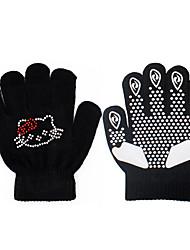 cheap -Figure Skating Gloves All Ice Skating Gloves Black White Fuchsia Training Skating Wear Crystal / Rhinestone Figure Skating / Winter