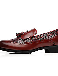 cheap -Men's Formal Shoes Leather Shoes Fall / Fall & Winter Casual Daily Office & Career Loafers & Slip-Ons Walking Shoes Leather Non-slipping Wear Proof Wine / Black / Brown / Tassel / Tassel
