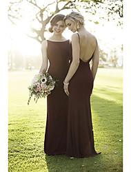 cheap -Mermaid / Trumpet Boat Neck Sweep / Brush Train Chiffon Elegant / Open Back Formal Evening Dress with 2020