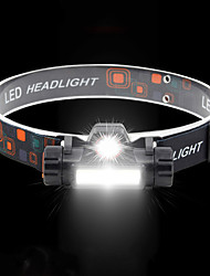 cheap -BRELONG® Headlamps Waterproof 2 Emitters with Battery and USB Cable Waterproof Portable Adjustable Durable Camping / Hiking / Caving Hunting Fishing Black / IPX 6