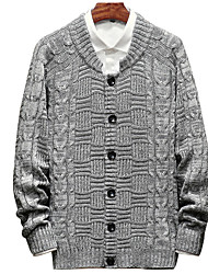 cheap -Men's Daily / Weekend Basic Patchwork Solid Colored Long Sleeve Plus Size Slim Regular Cardigan Sweater Jumper, Round Neck Fall Beige / Gray / Khaki M / L / XL