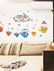 cheap -New SK7105 Flower Kettle Basin Home Bedroom Living Room Children Room Background Decoration Sticker
