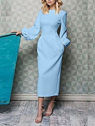 cheap -Women's Maxi Black White Blue Sheath Dress - Long Sleeve Solid Colored Patchwork Basic Daily Date Belt Not Included White Black Blue Yellow Blushing Pink S M L XL XXL XXXL