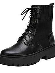 cheap -Women's Boots Flat Heel Peep Toe PU Booties / Ankle Boots Fall & Winter Black