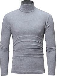 cheap -Men's Solid Colored Long Sleeve Pullover Sweater Jumper, Turtleneck Black / Light gray / White US32 / UK32 / EU40 / US34 / UK34 / EU42