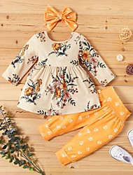 cheap -Baby Girls' Street chic Floral / Print Long Sleeve Regular Clothing Set Yellow