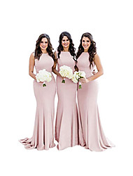 cheap -Mermaid / Trumpet Jewel Neck Court Train Jersey Bridesmaid Dress with