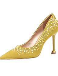 cheap -Women's Heels Stiletto Heel Pointed Toe Rhinestone / Sparkling Glitter Synthetics Minimalism Spring & Summer Black / Almond / Yellow / Party & Evening